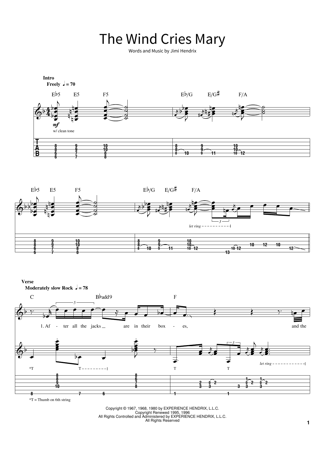 The Wind Cries Mary (School of Rock – Guitar Tab)