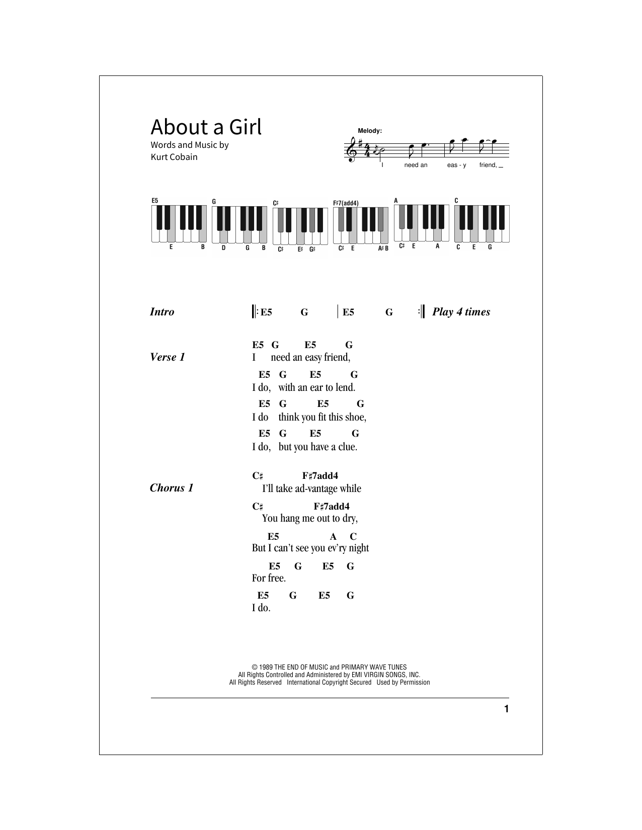 About A Girl (School of Rock – Keys)