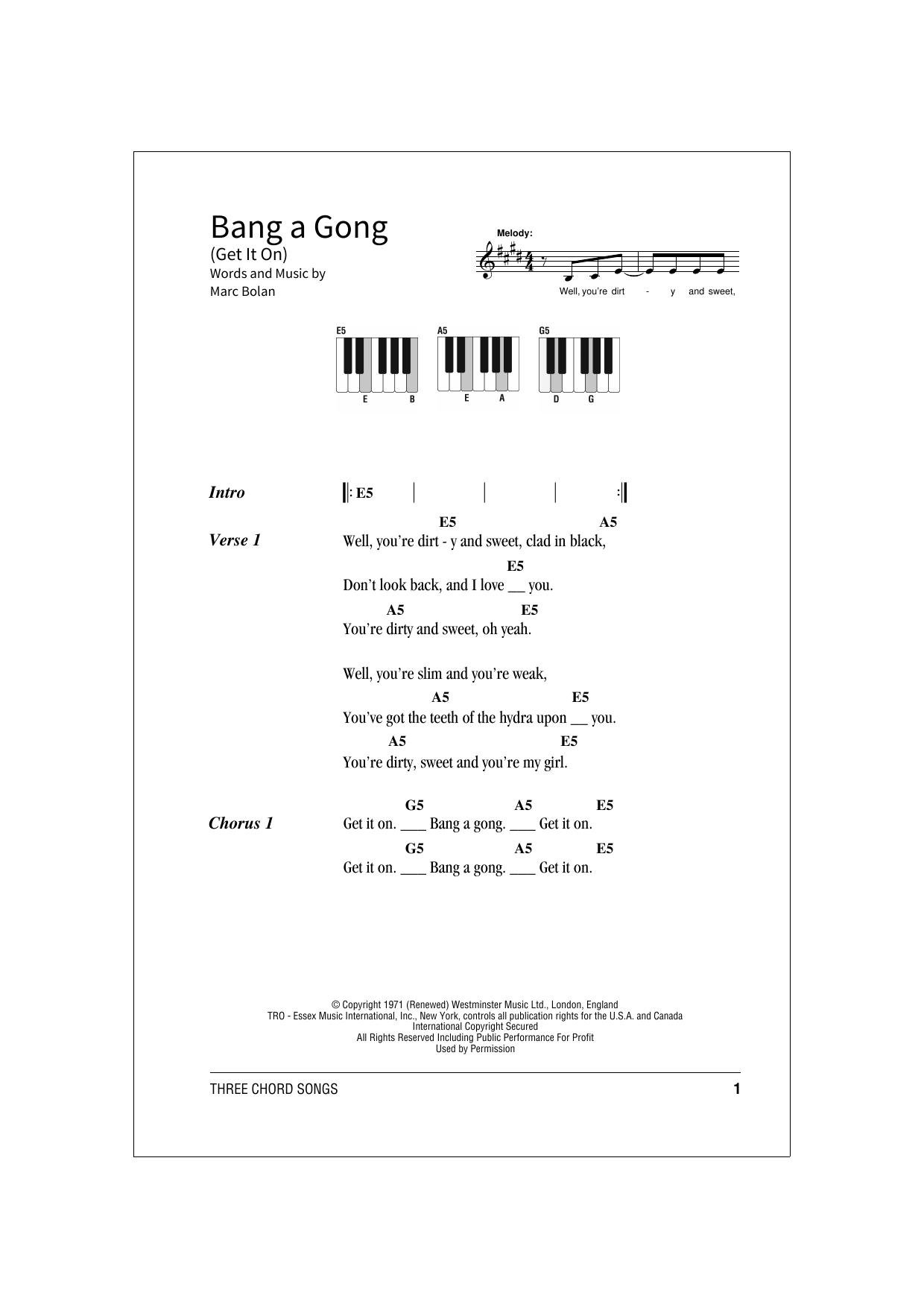 Bang A Gong (Get It On) (School of Rock – Keys)