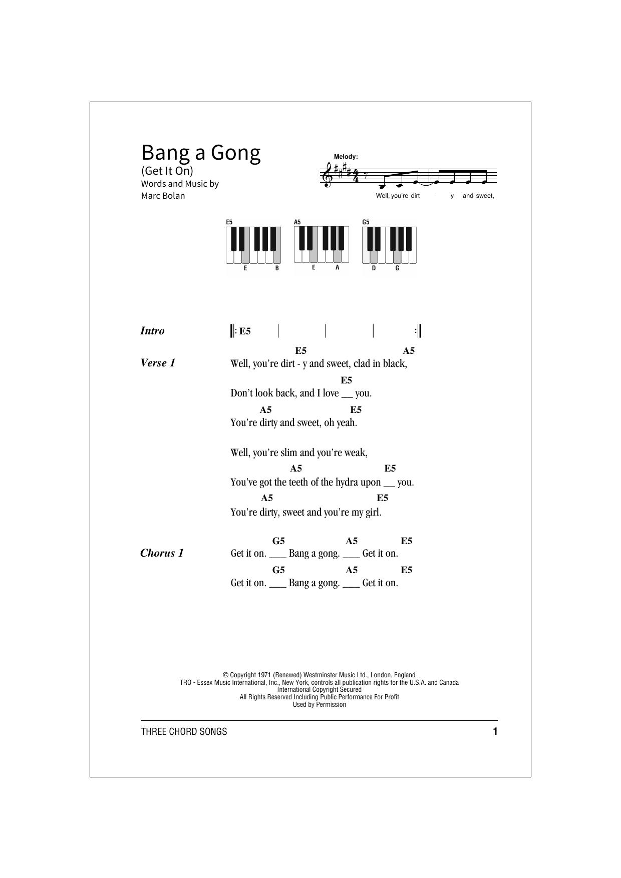 Bang A Gong (Get It On) Sheet Music