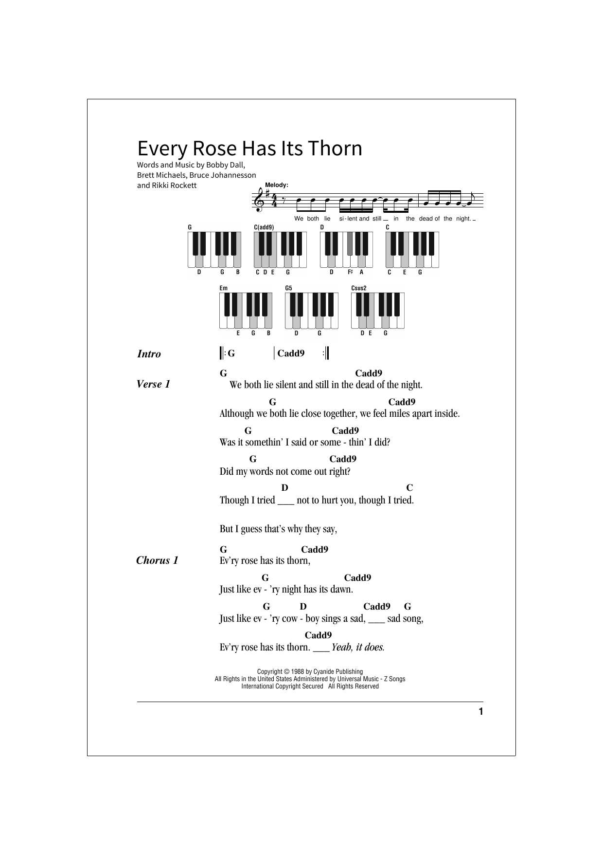 Every Rose Has Its Thorn Sheet Music