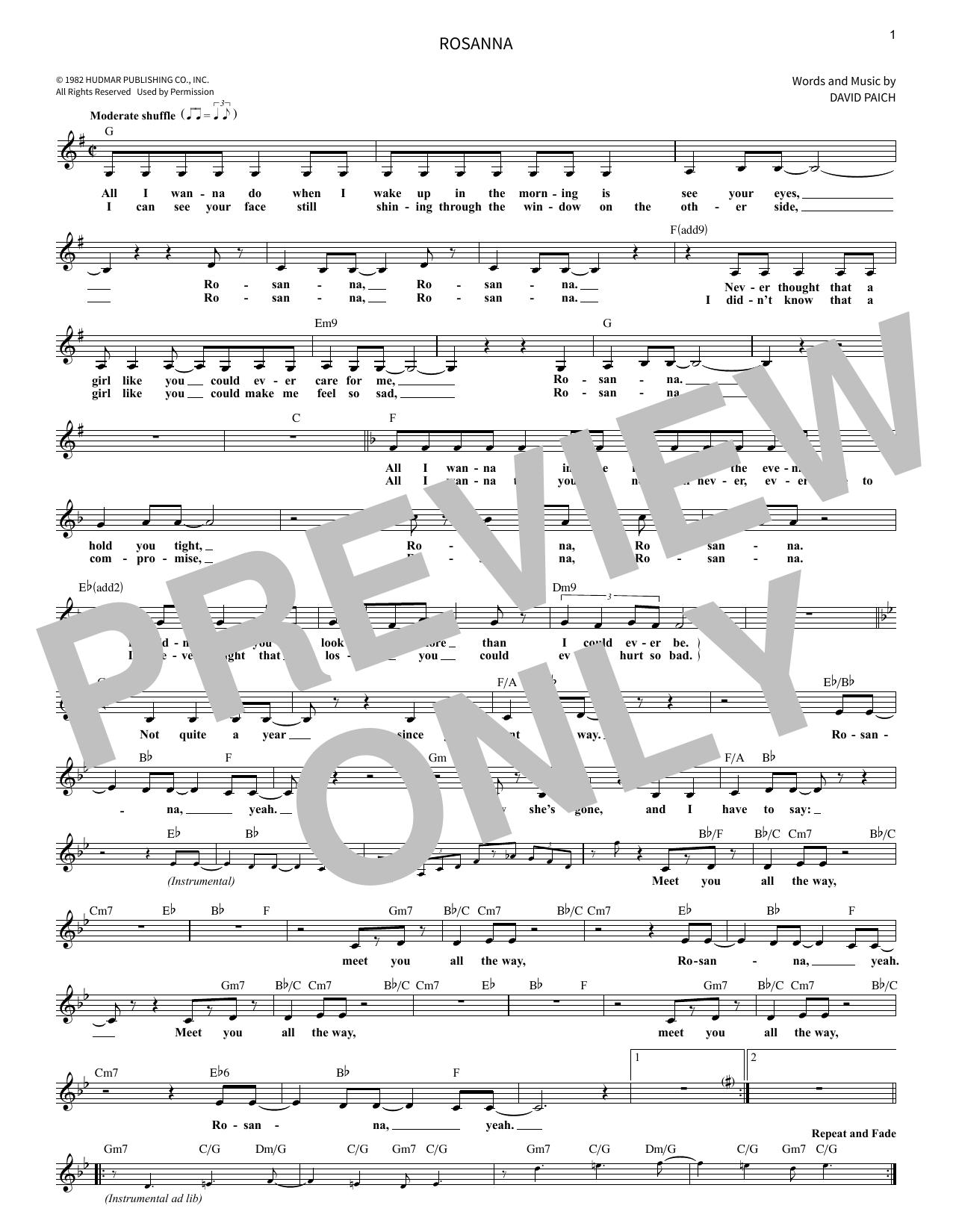 Rosanna Sheet Music