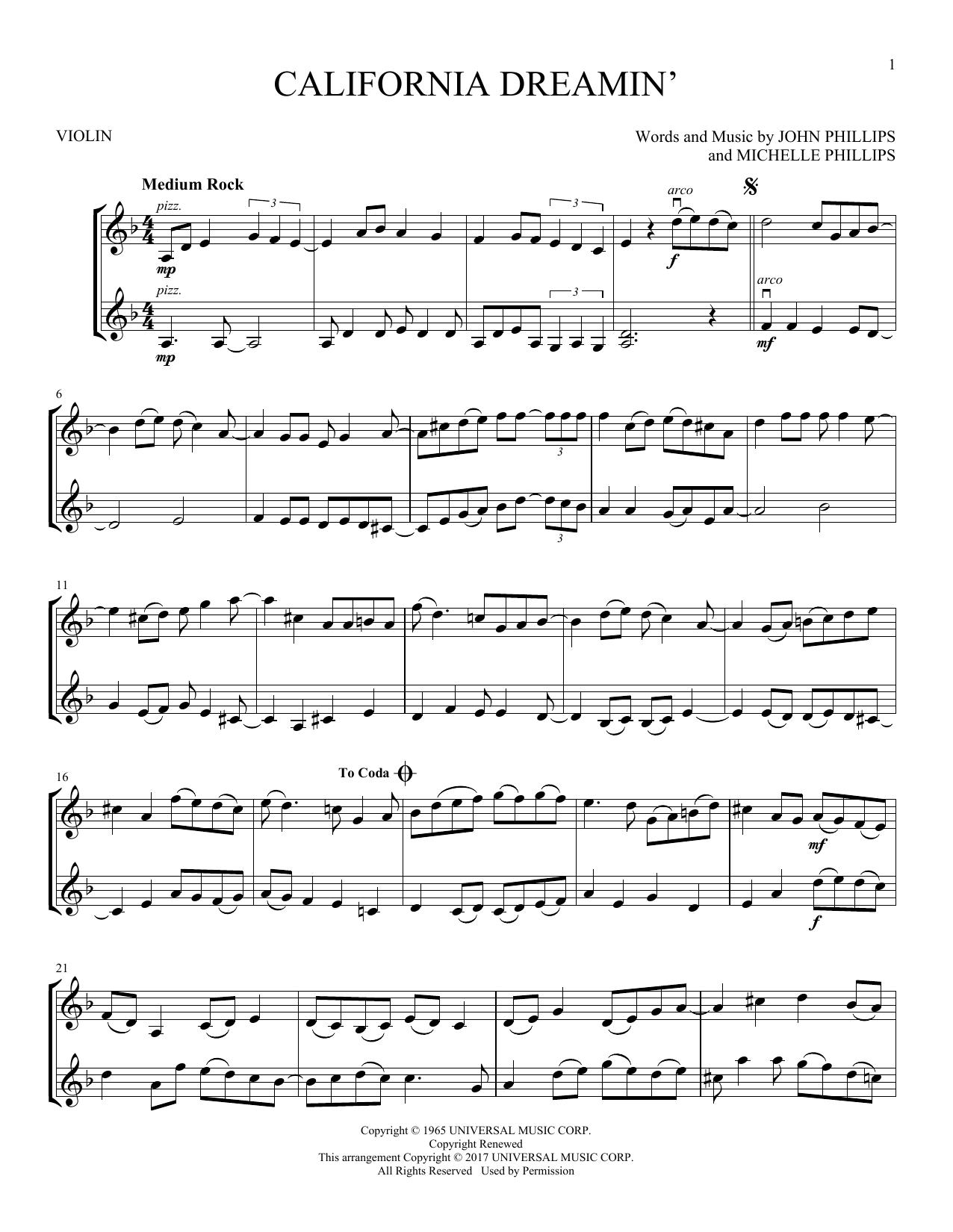 California Dreamin' (Violin Duet)