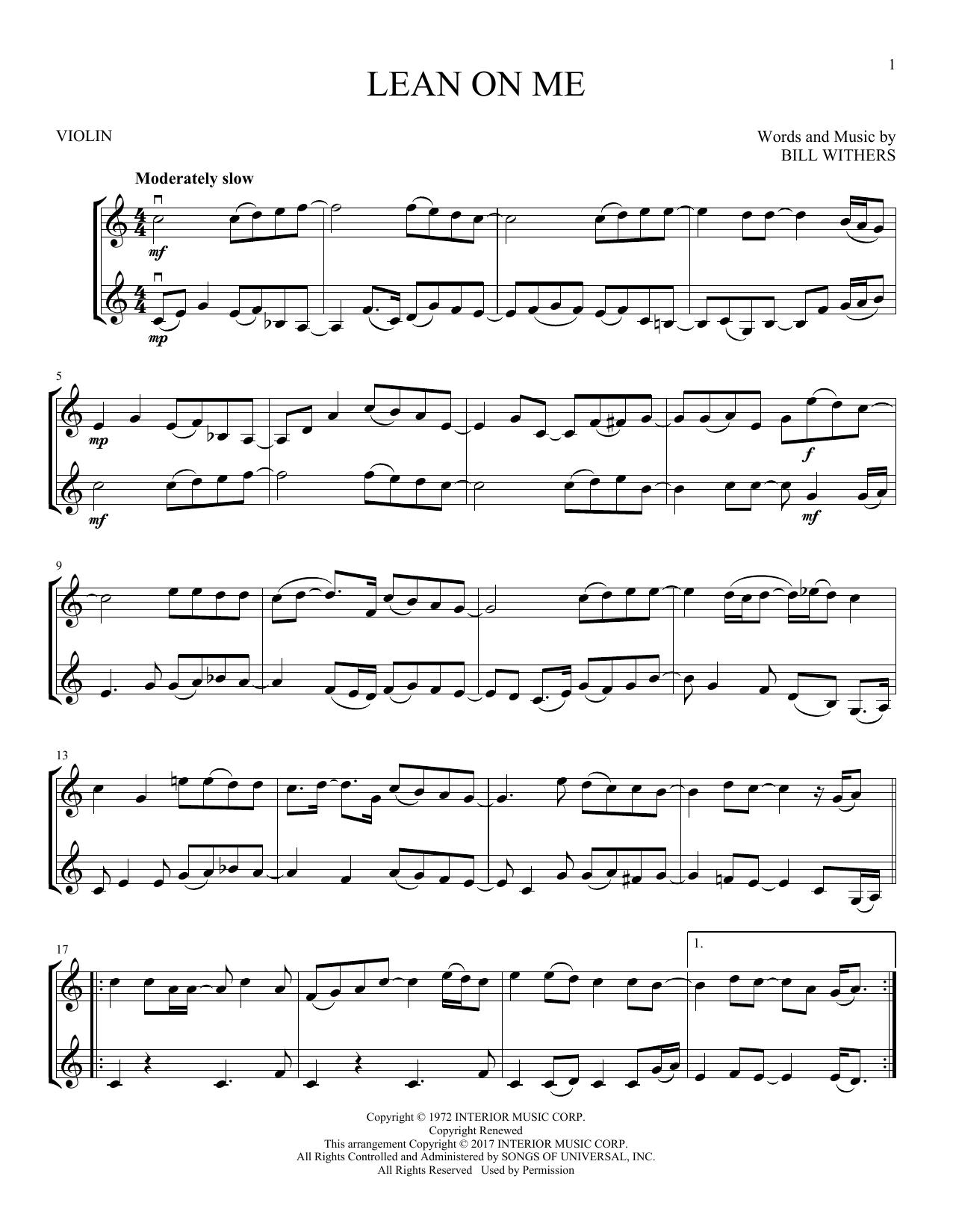 Lean On Me (Violin Duet)