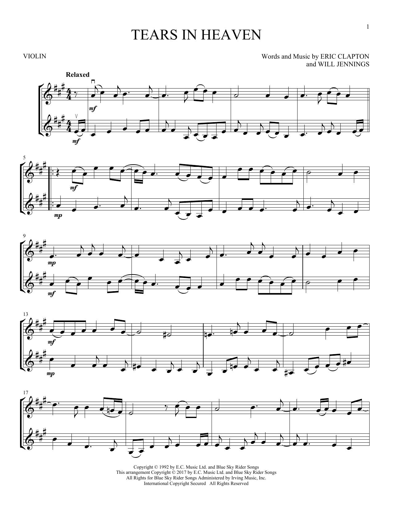 Tears In Heaven (Violin Duet)