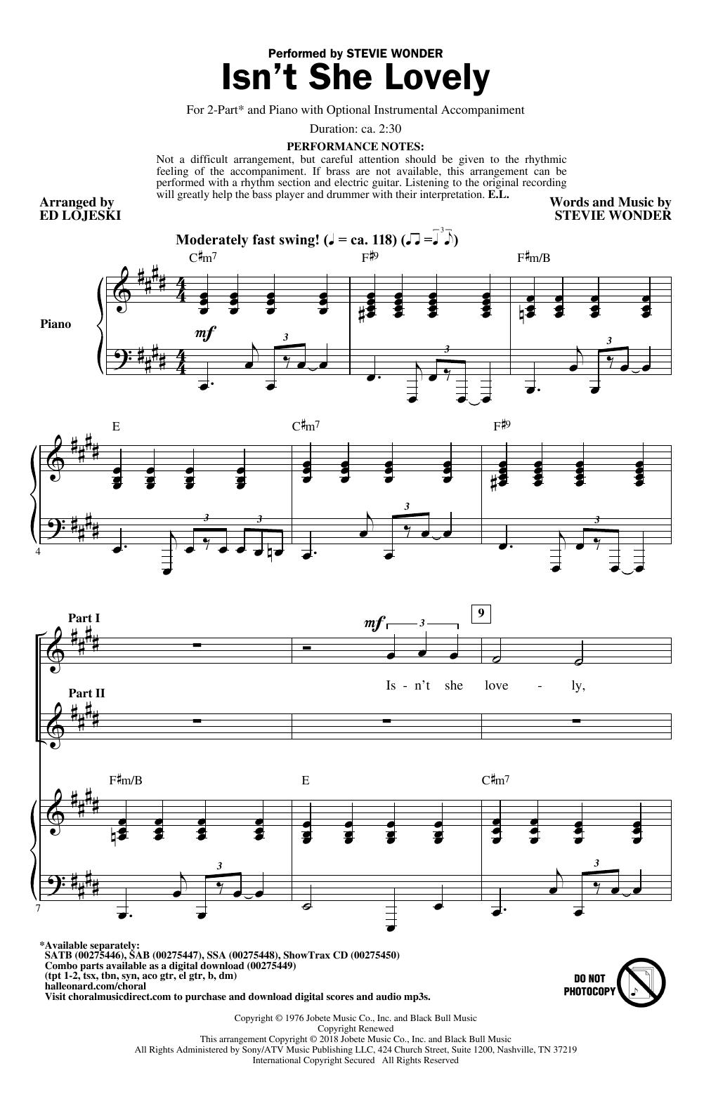 Isn't She Lovely (arr. Ed Lojeski) (2-Part Choir)