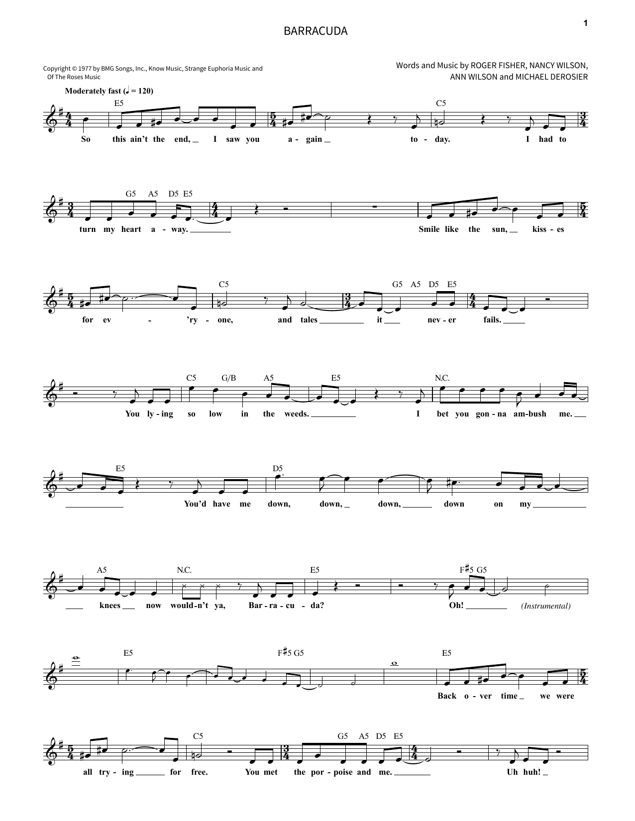 Barracuda Sheet Music