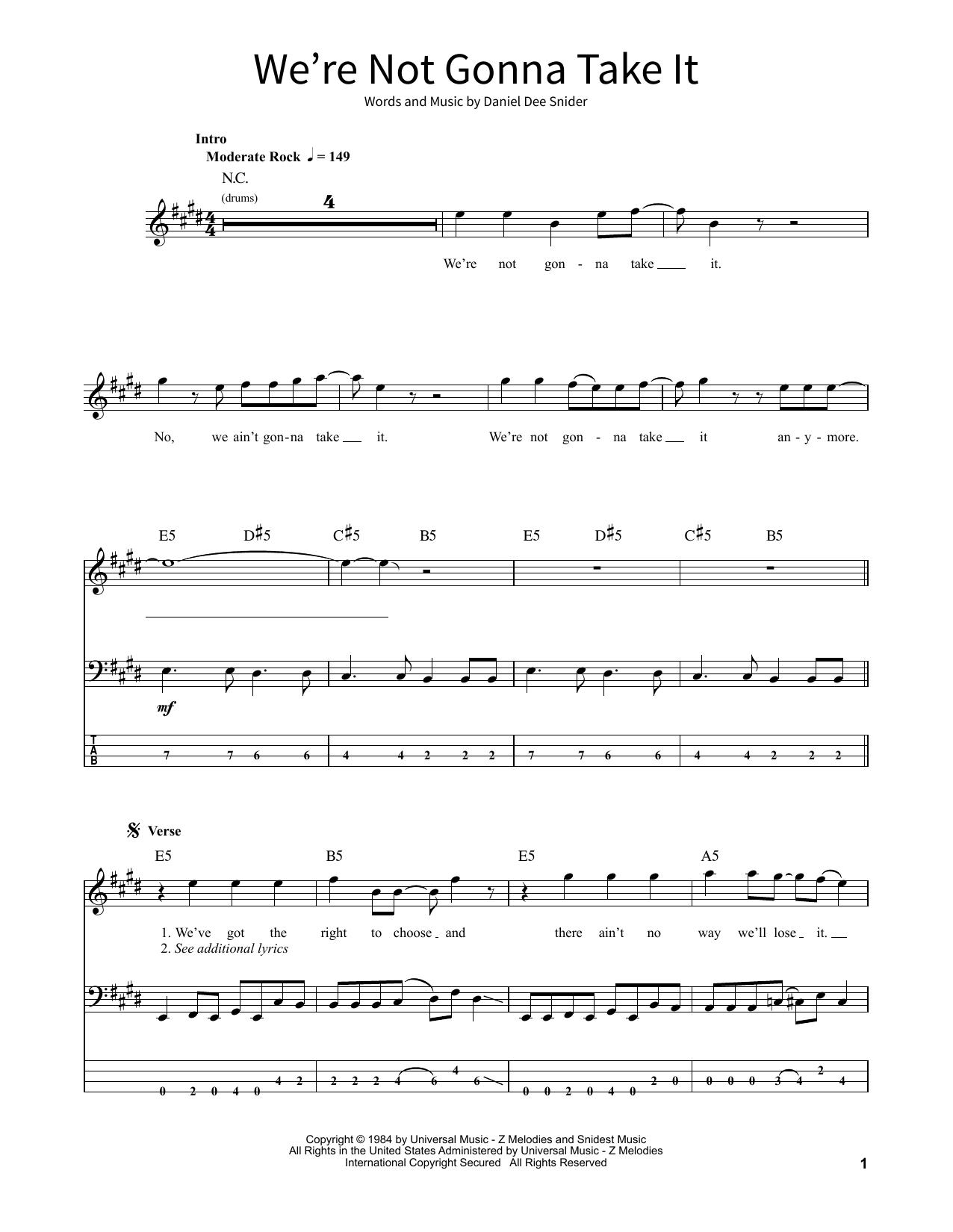 we're not gonna take it noten | twisted sister | school of rock –  bassgitarre  sheet music direct