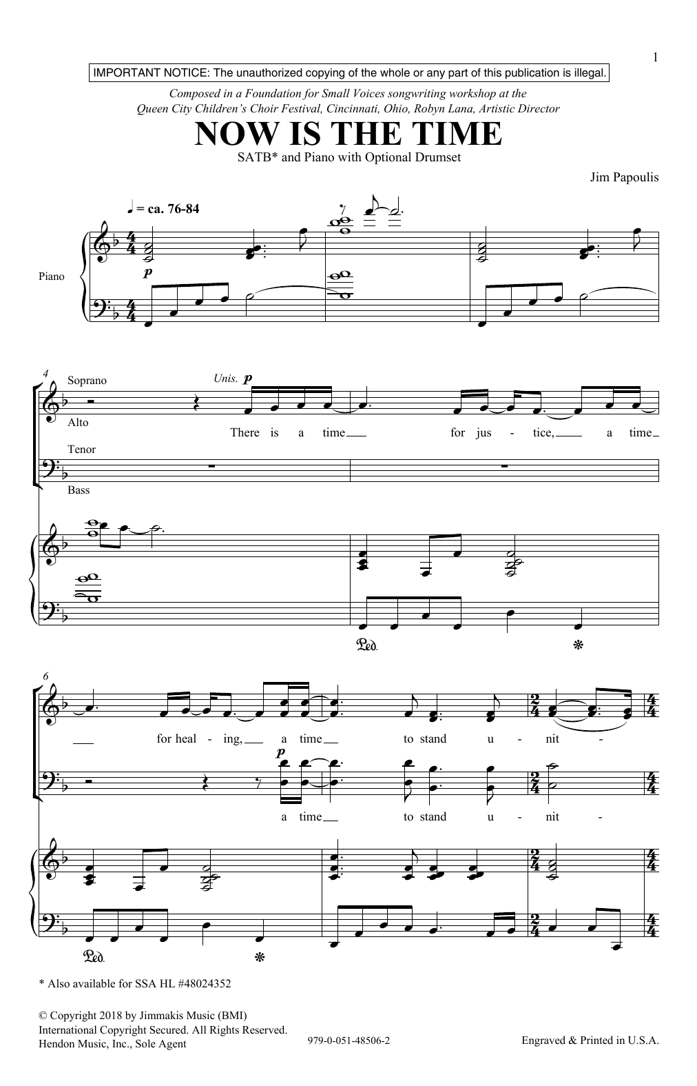 Now Is The Time (SATB Choir)