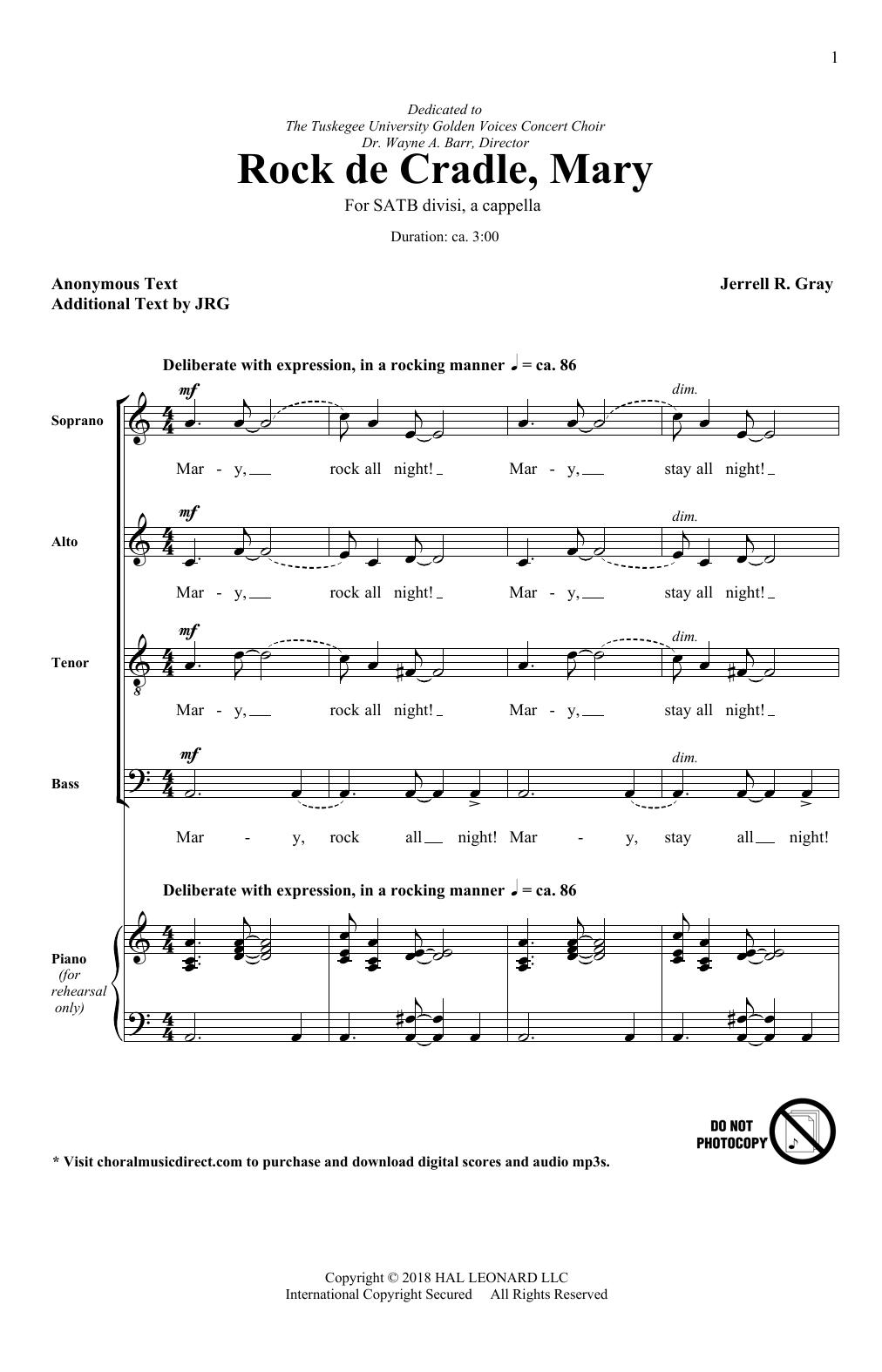 Rock De Cradle Mary (SATB Choir)