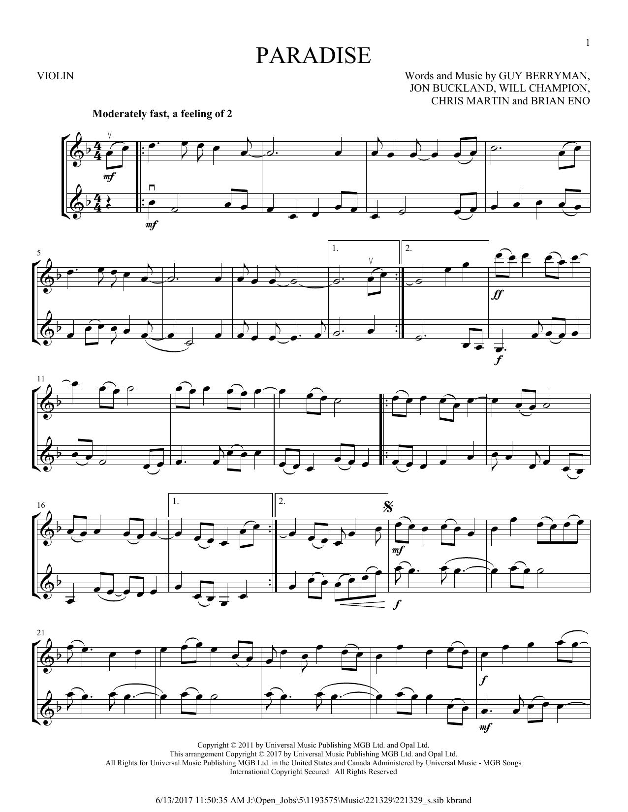 Paradise (Violin Duet)