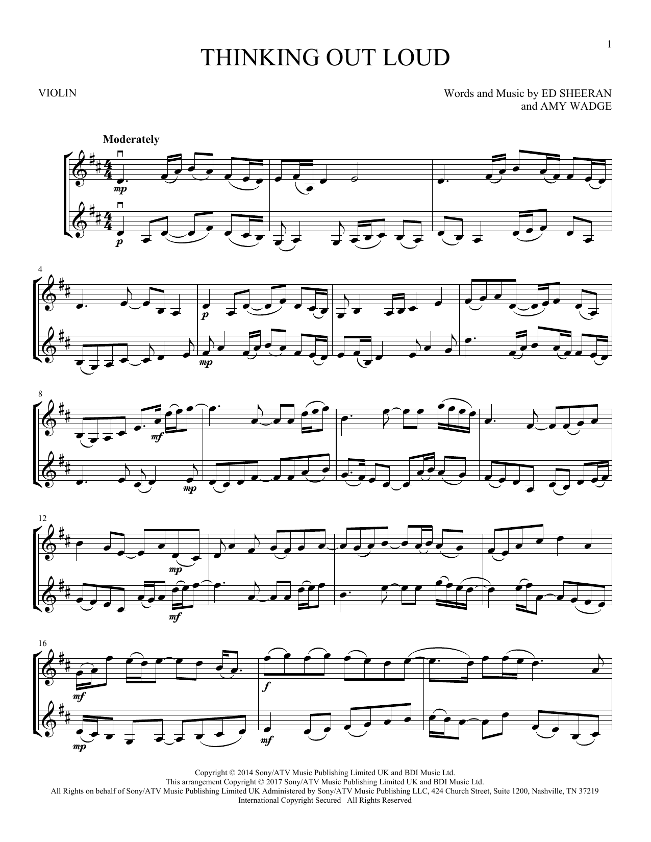 Thinking Out Loud (Violin Duet)