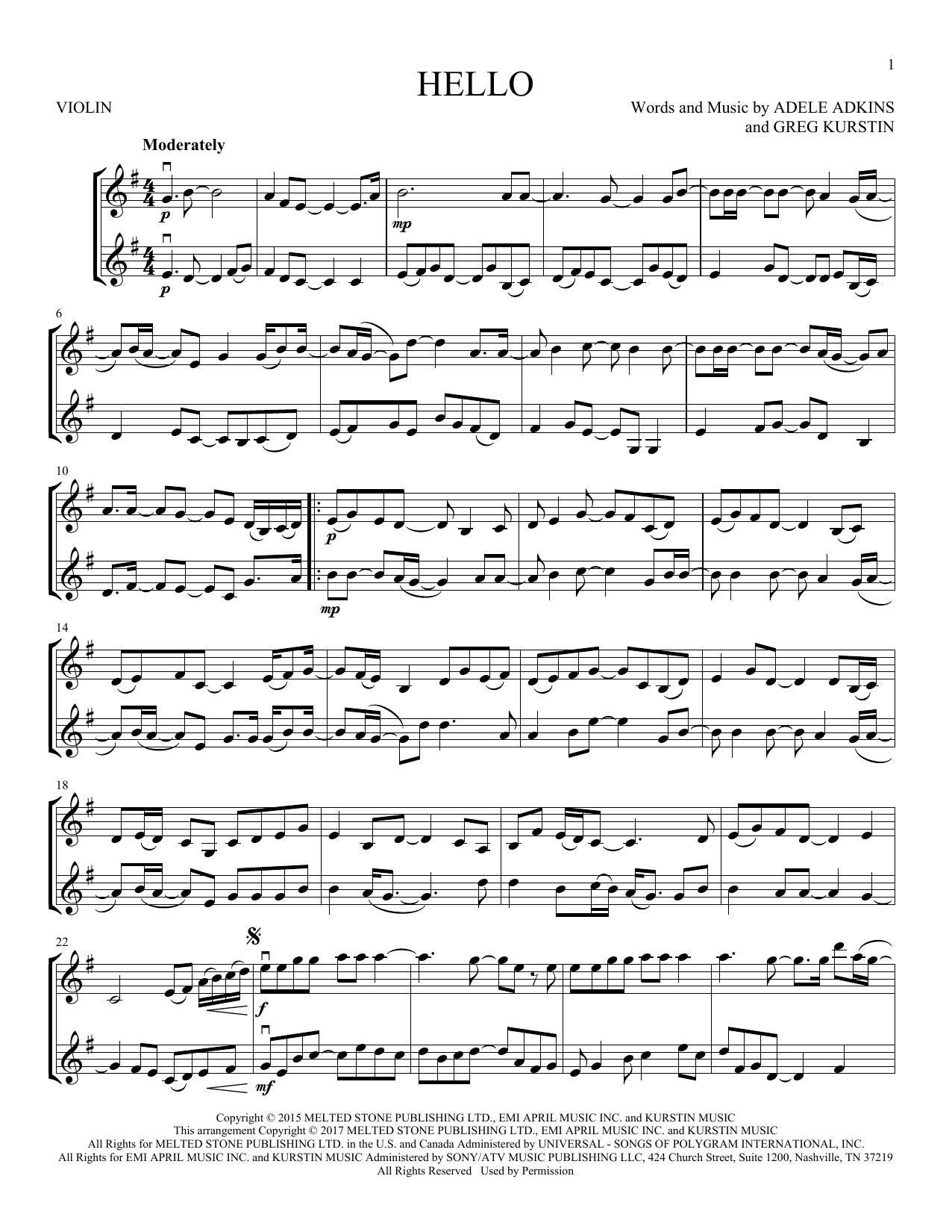 Hello (Violin Duet)