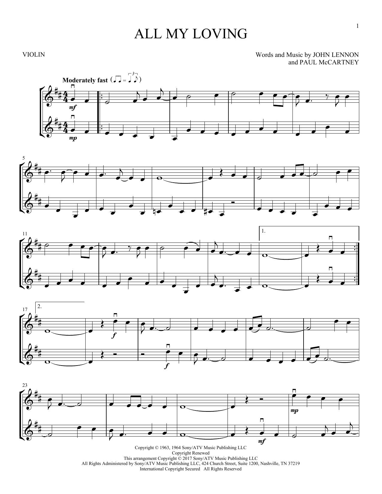 All My Loving (Violin Duet)