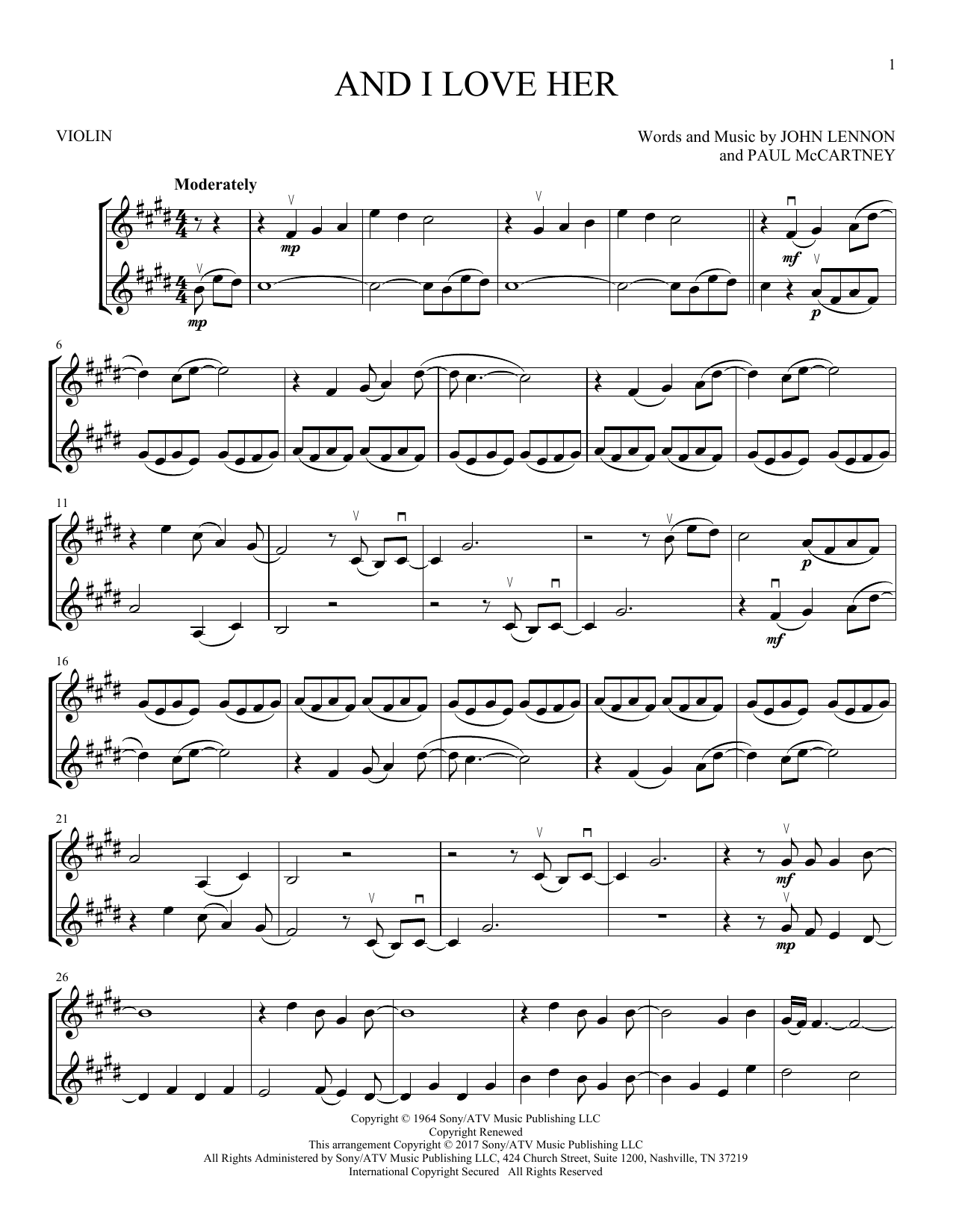 And I Love Her (Violin Duet)