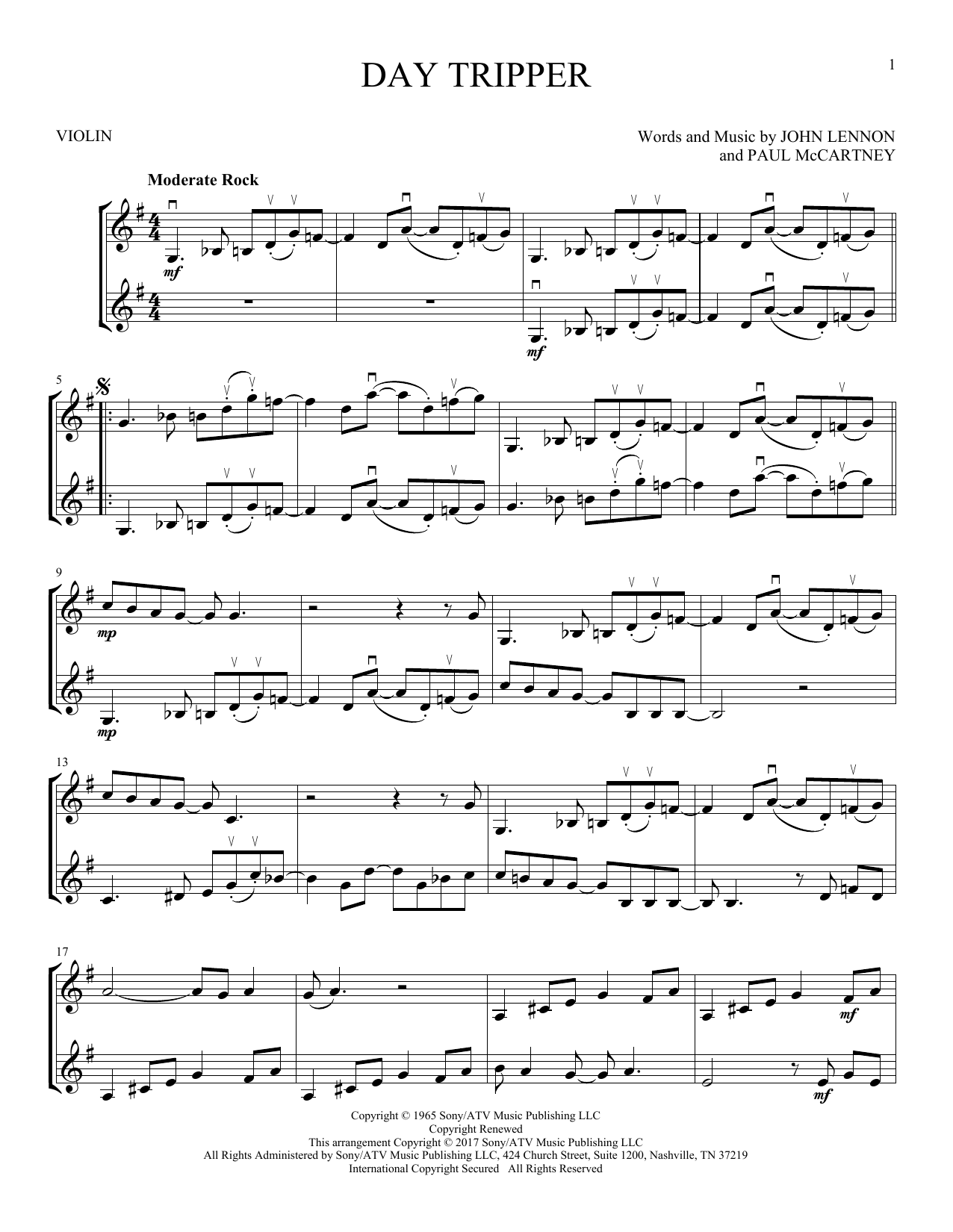 Day Tripper (Violin Duet)