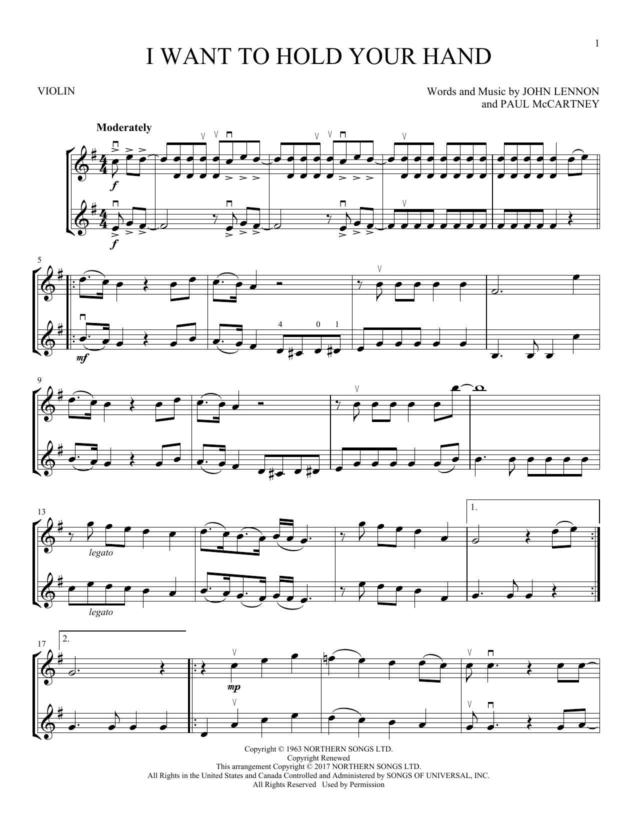 I Want To Hold Your Hand (Violin Duet)