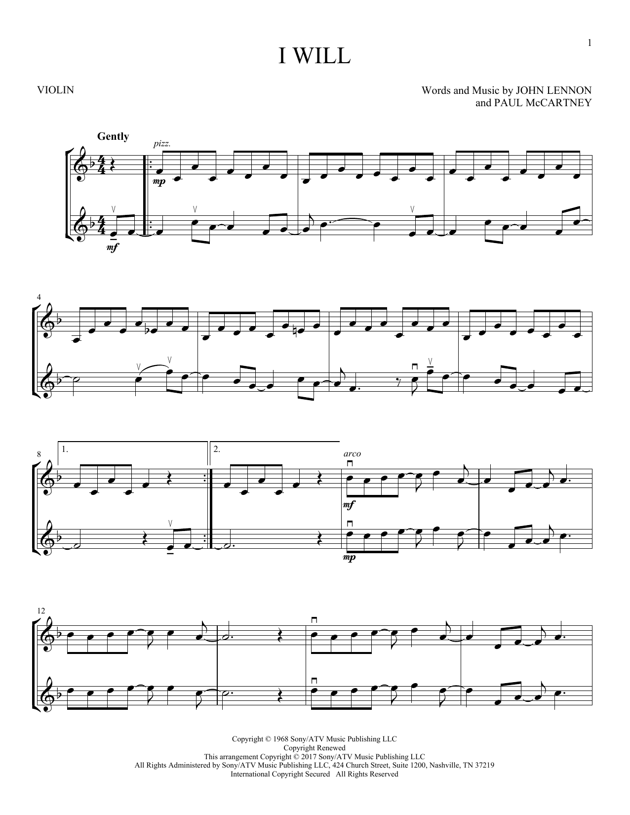 I Will (Violin Duet)