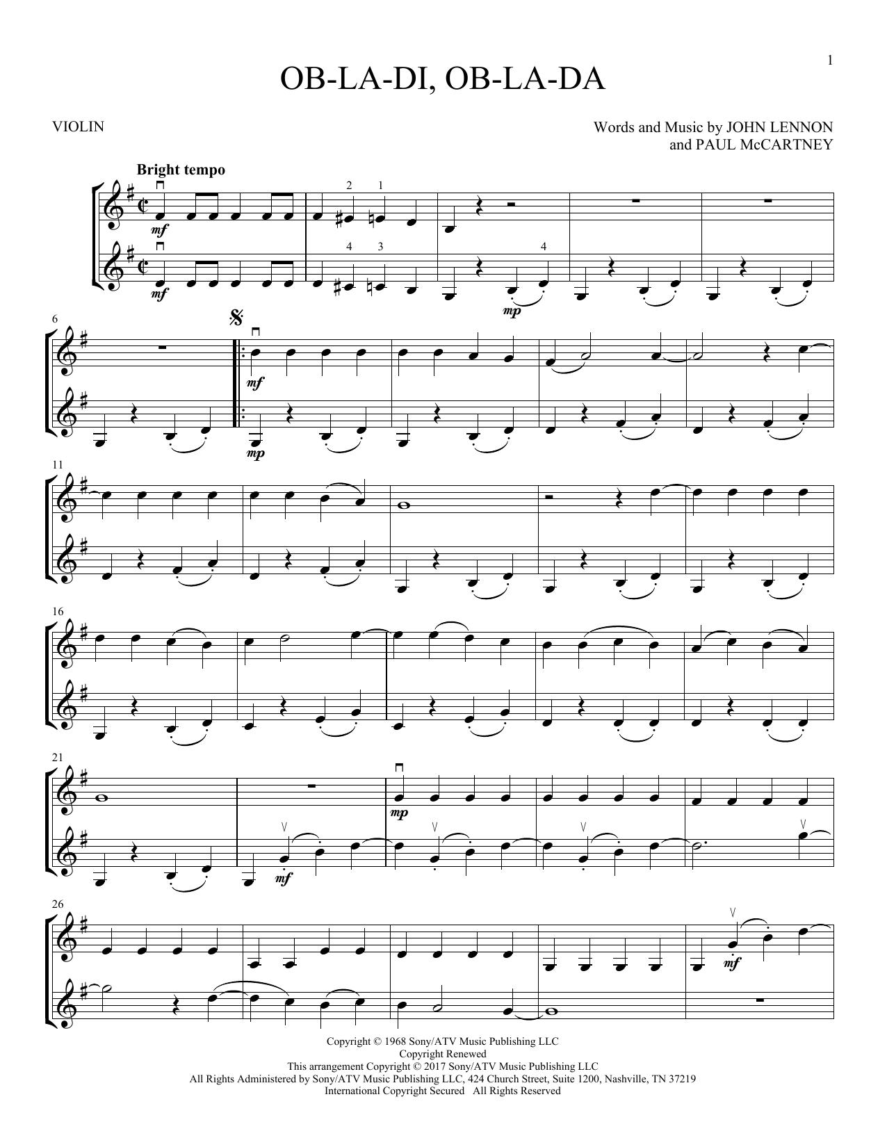 Ob-La-Di, Ob-La-Da (Violin Duet)