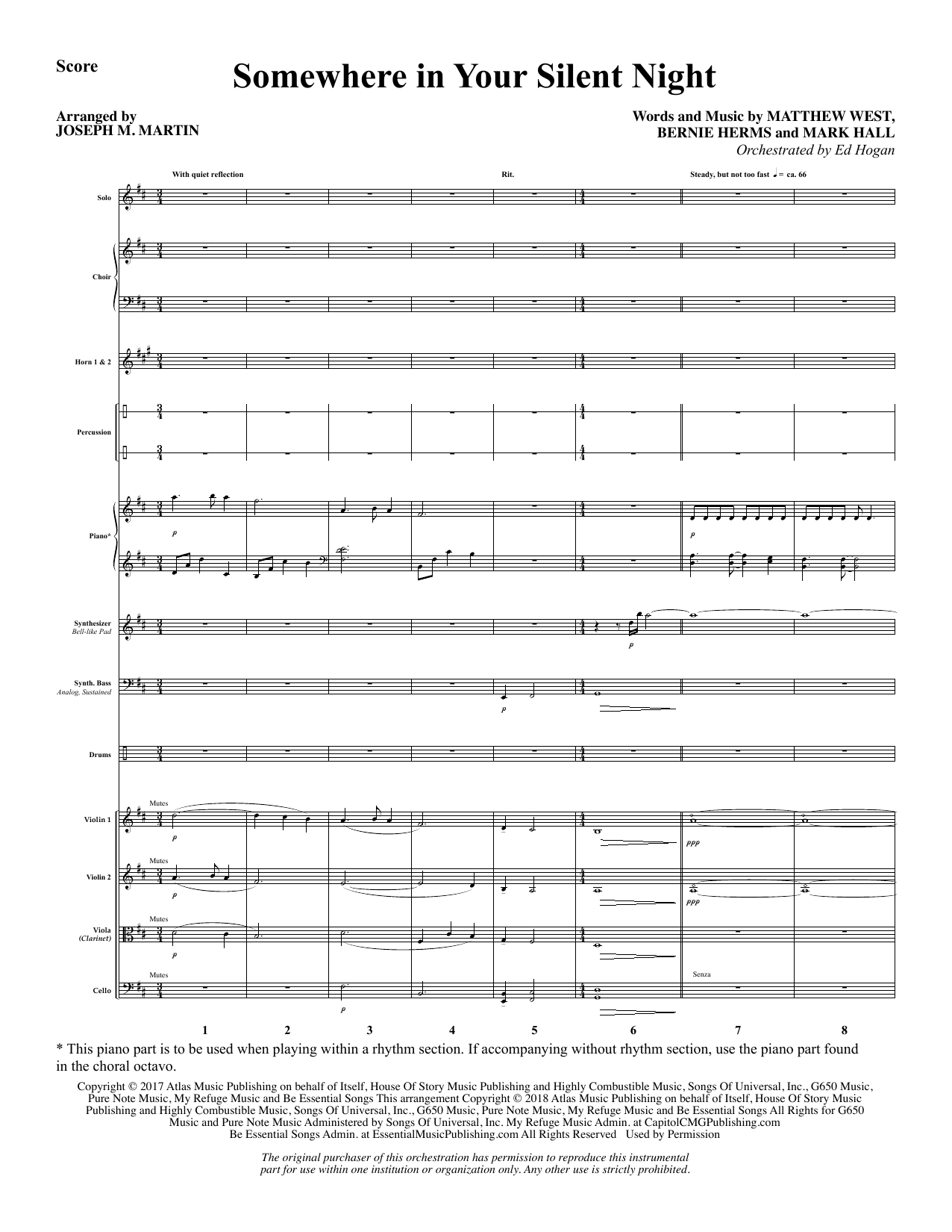 Somewhere in Your Silent Night - Full Score (Choir Instrumental Pak)