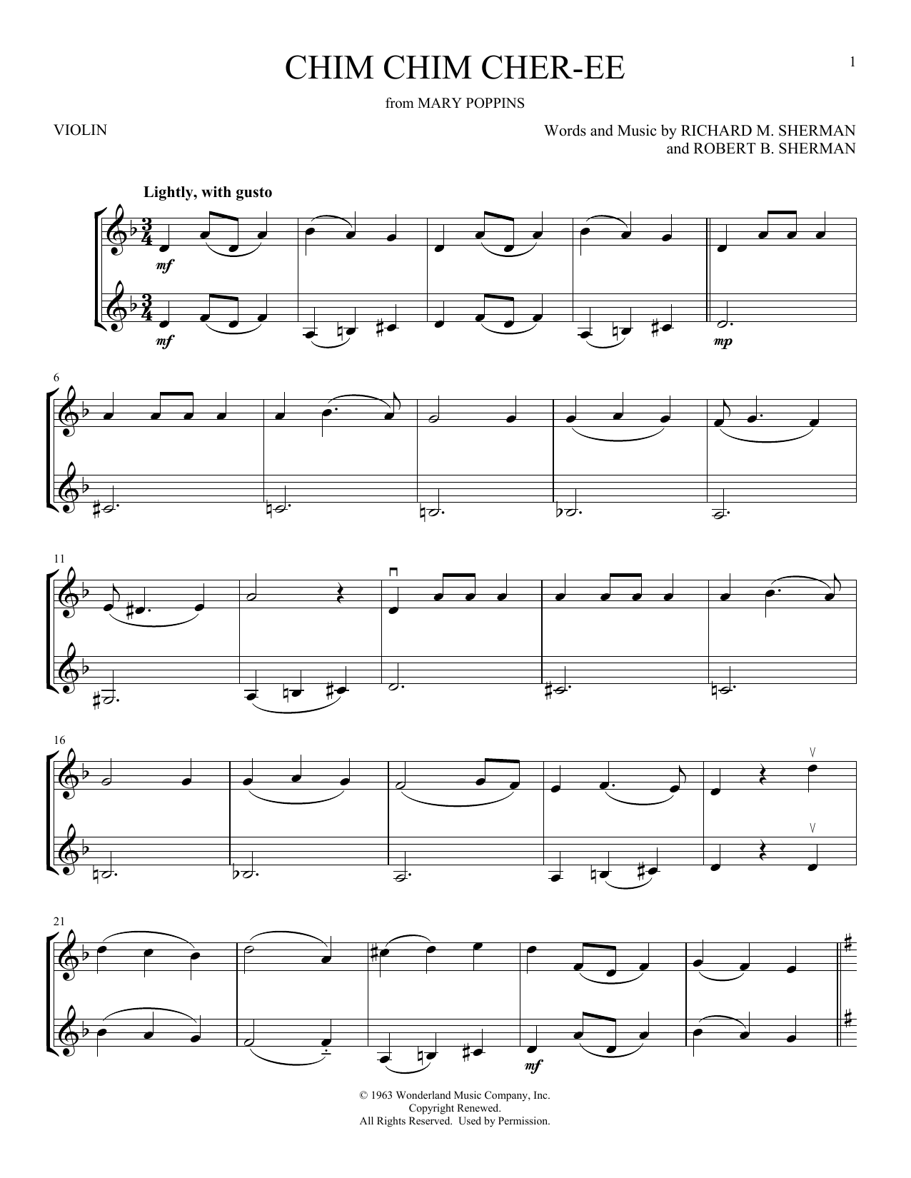 Chim Chim Cher-ee (from Mary Poppins) (Violin Duet)