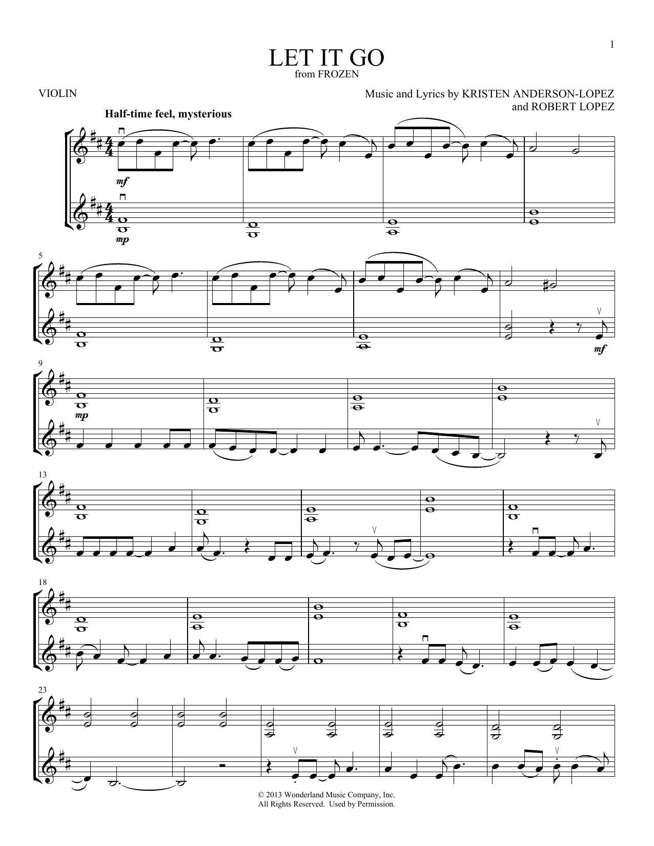 Let It Go (from Frozen) (Violin Duet)