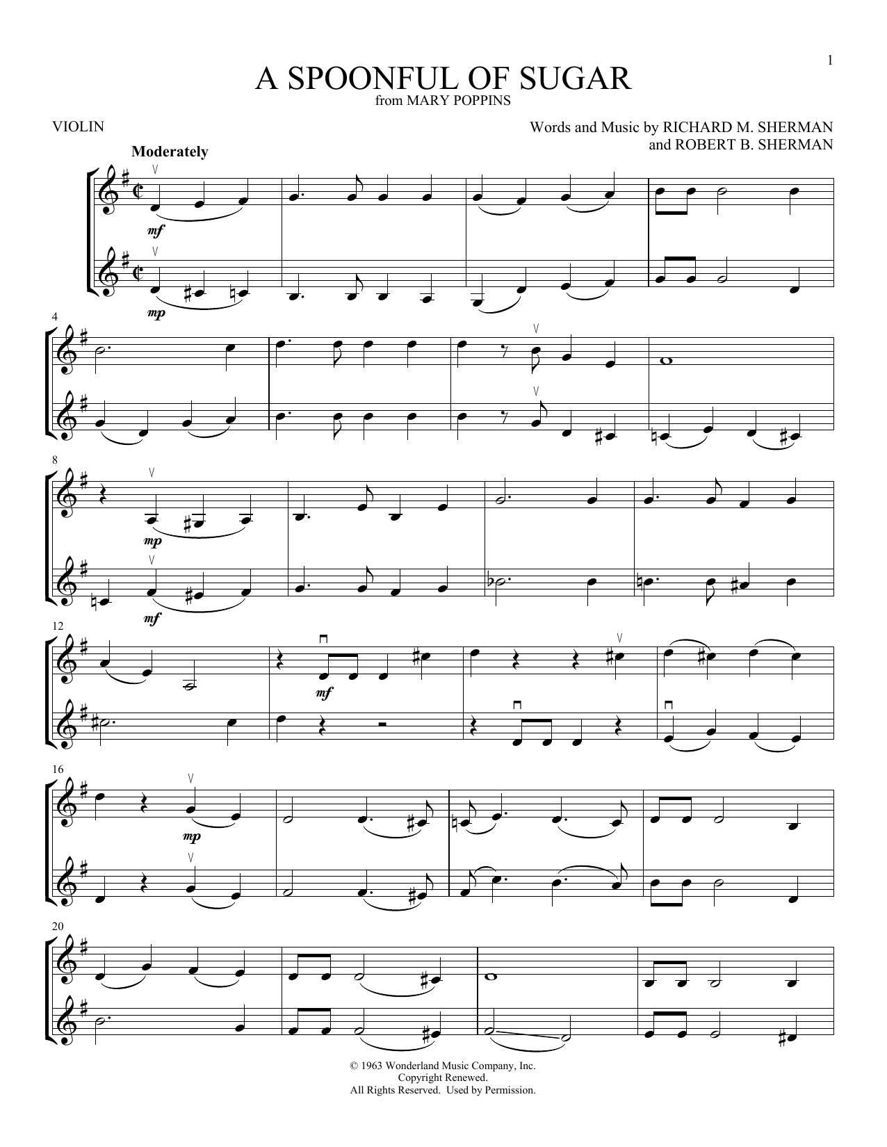 A Spoonful Of Sugar (Violin Duet)