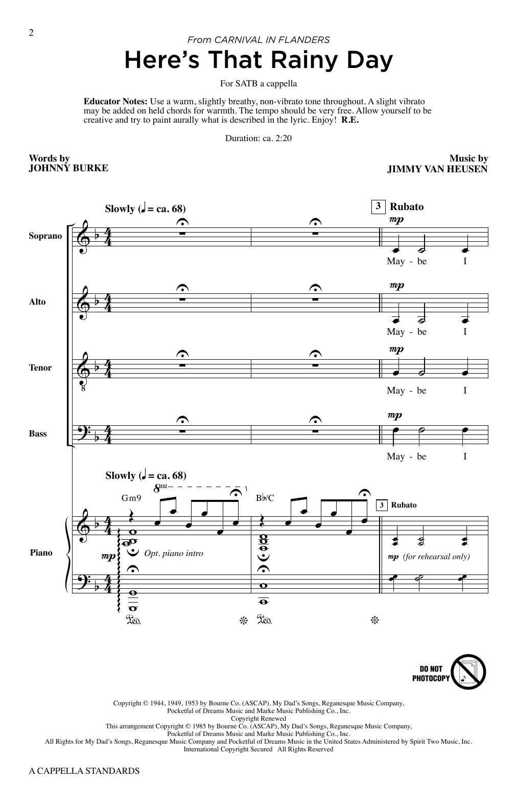 A Cappella Standards Digitale Noten