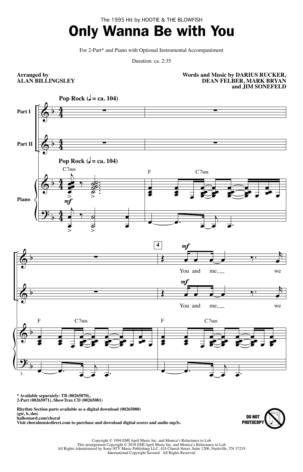 Only Wanna Be With You (arr. Alan Billingsley) Sheet Music