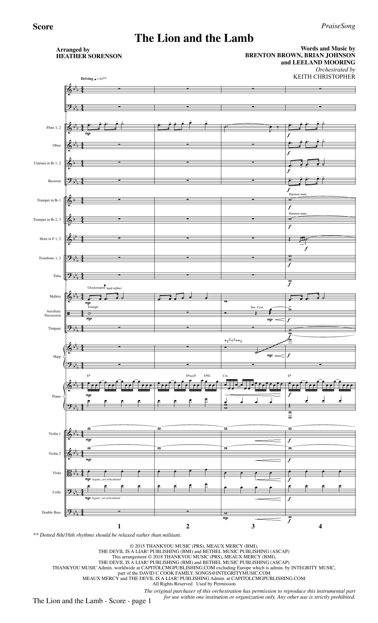 The Lion and the Lamb (with All Hail the Power of Jesus' Name) - Full Score (Choir Instrumental Pak)