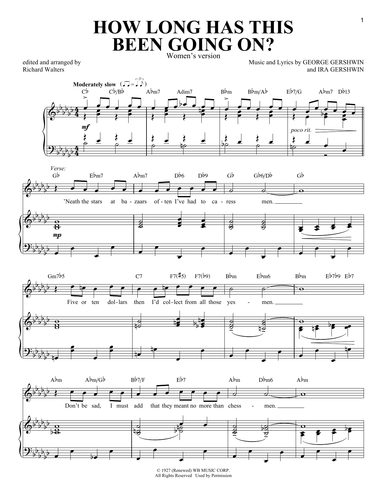 How Long Has This Been Going On? [Women's version] (Piano & Vocal)