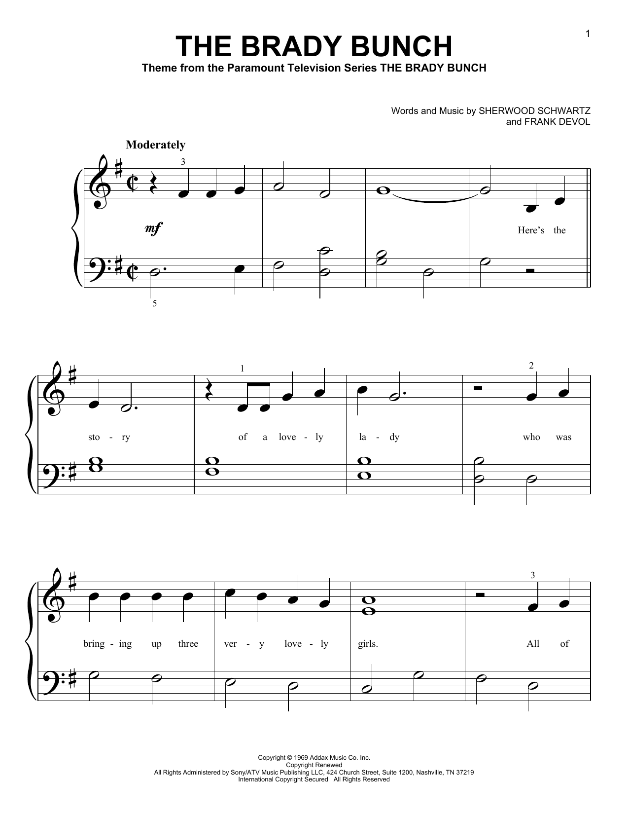 The Brady Bunch (Big Note Piano)