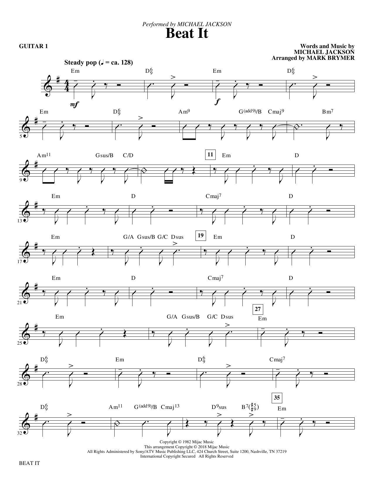 Beat It - Guitar 1 (Choir Instrumental Pak)