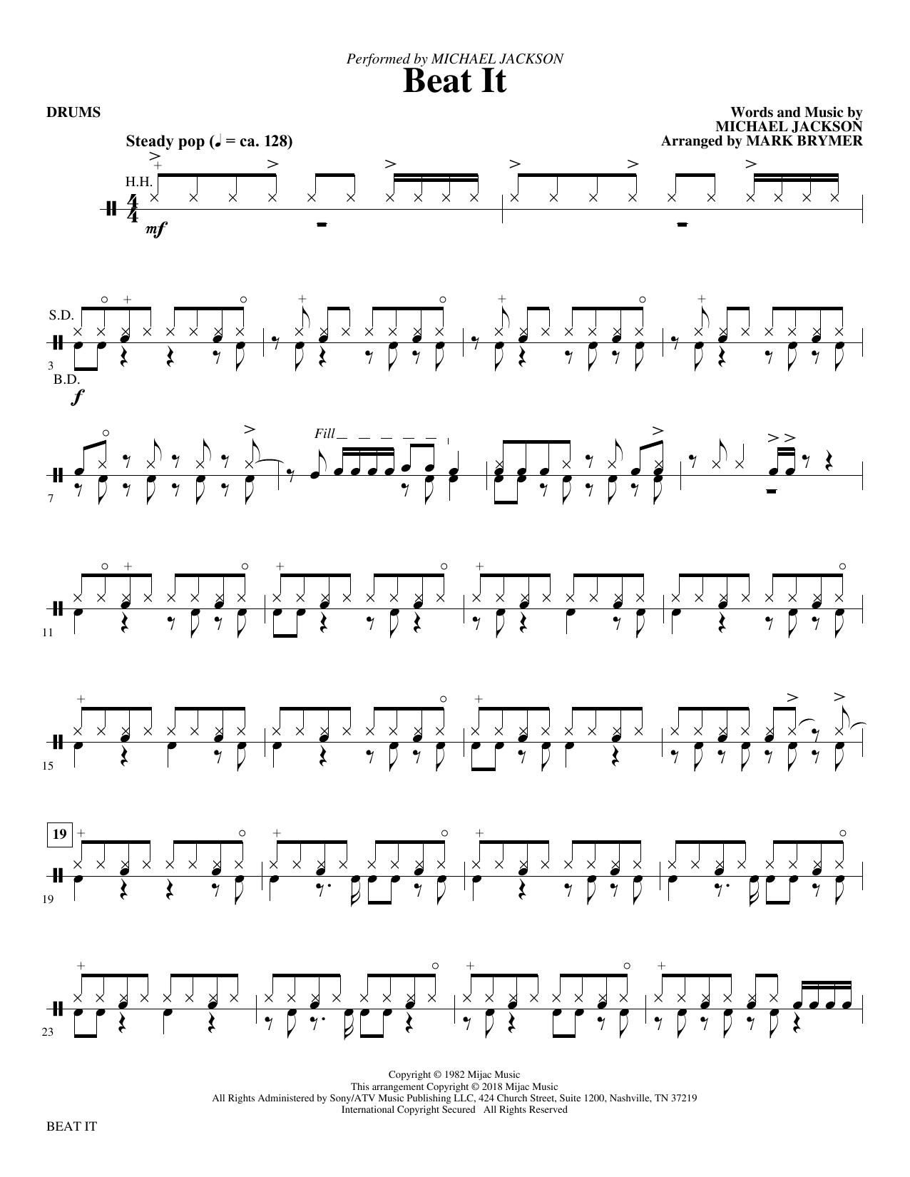 Beat It - Drums (Choir Instrumental Pak)
