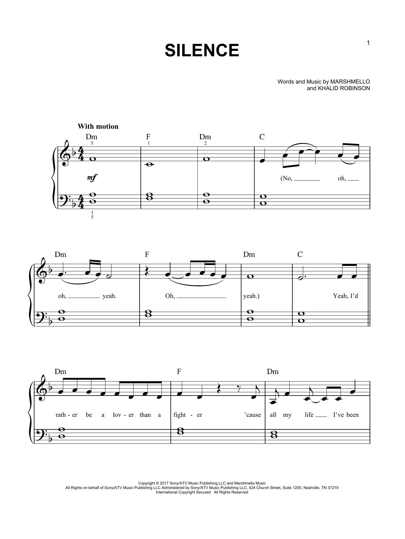 Silence (feat. Khalid) (Easy Piano)