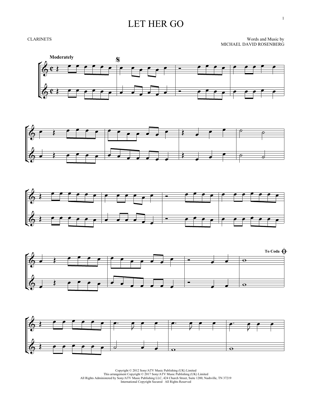 Let Her Go (Clarinet Duet)