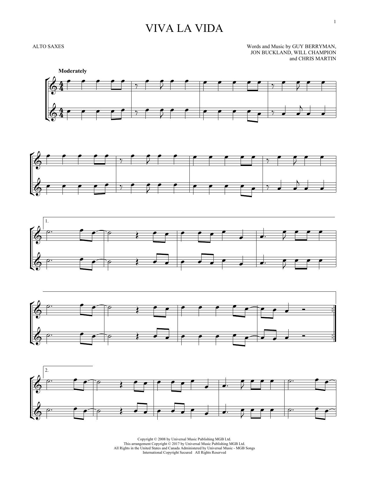 Viva La Vida (Alto Sax Duet)