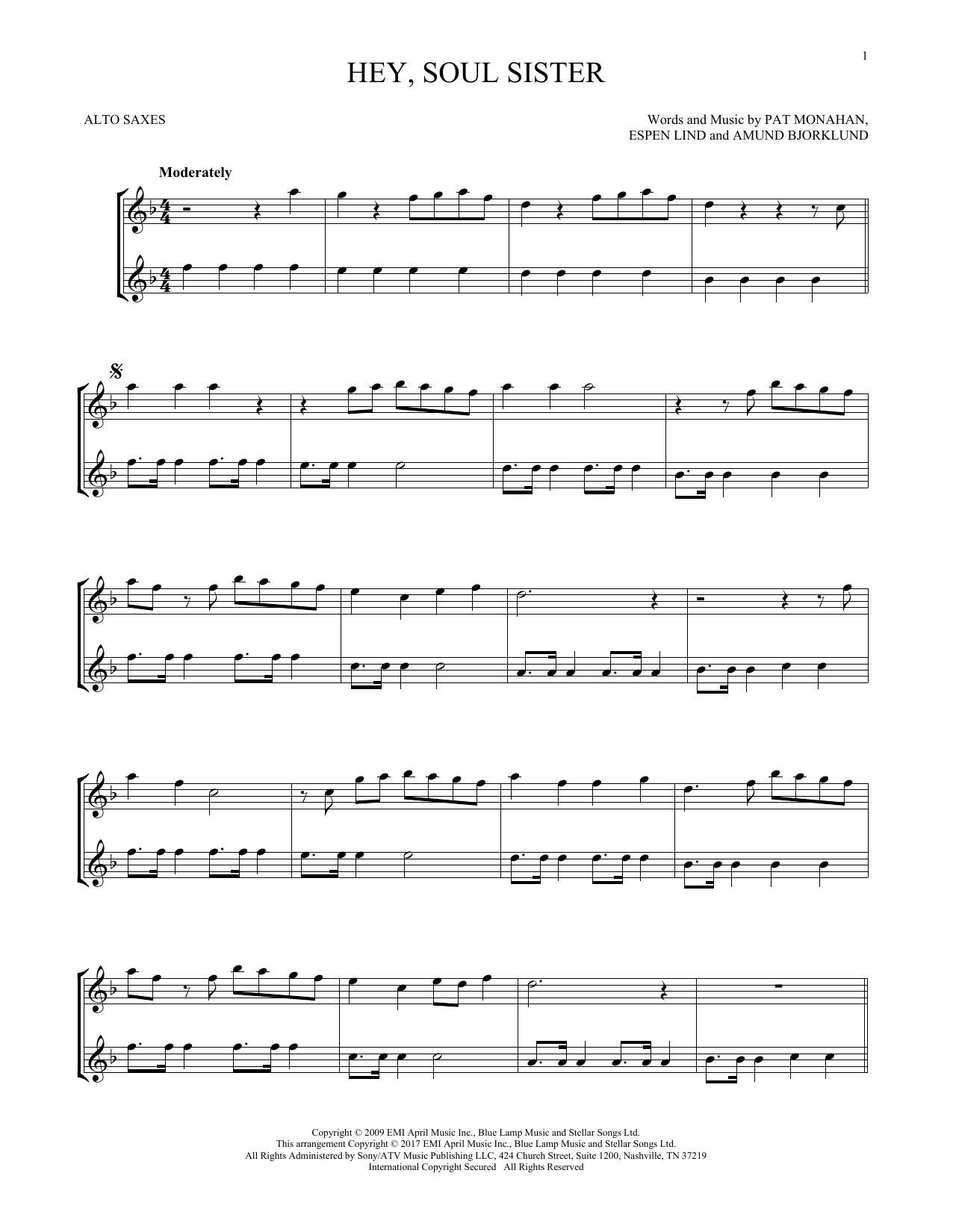 Hey, Soul Sister (Alto Sax Duet)