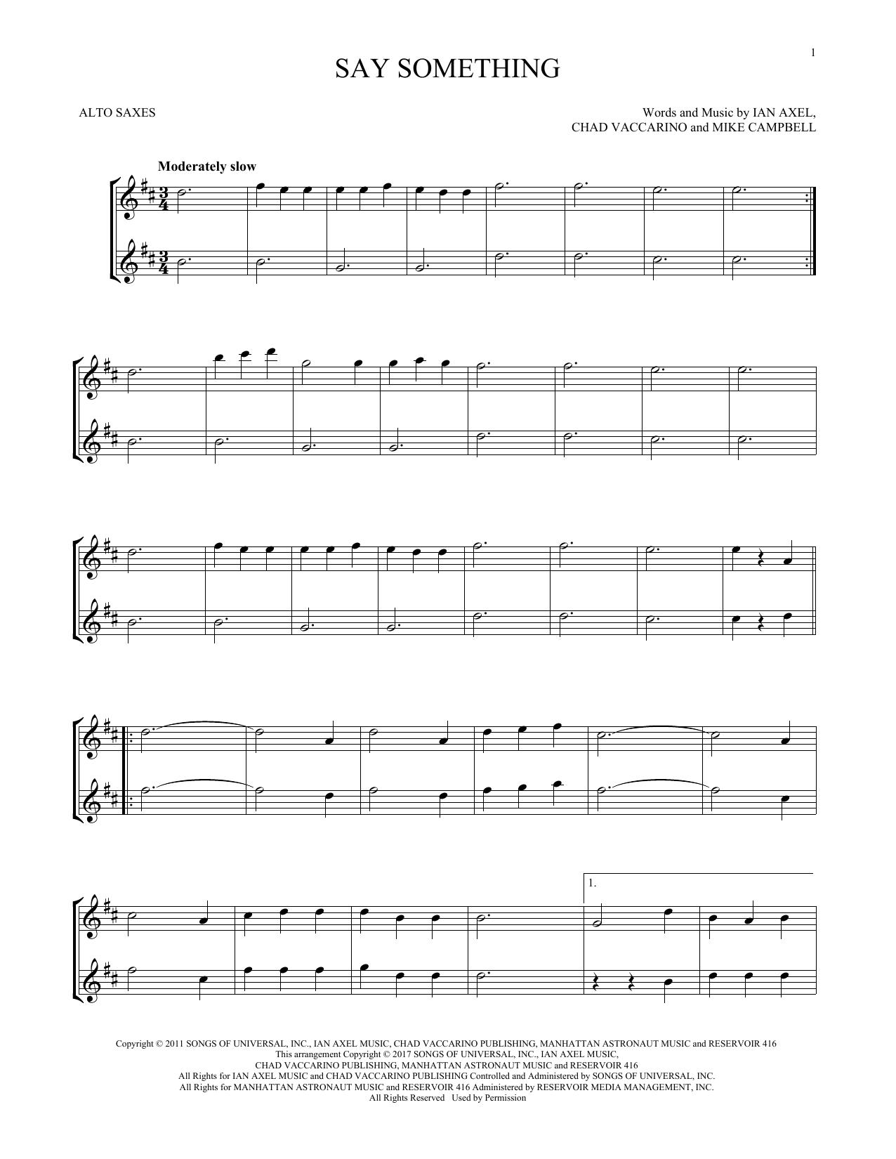 Say Something (Alto Sax Duet)