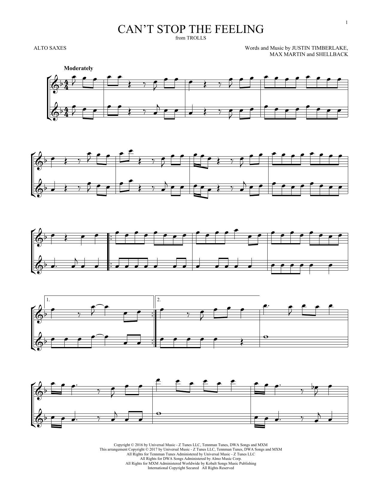 Can't Stop The Feeling (Alto Sax Duet)