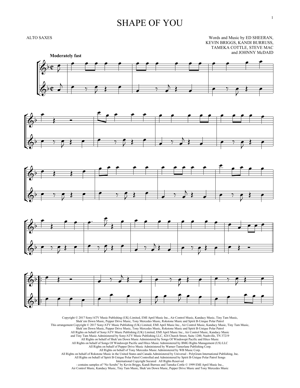 Shape Of You (Alto Sax Duet)