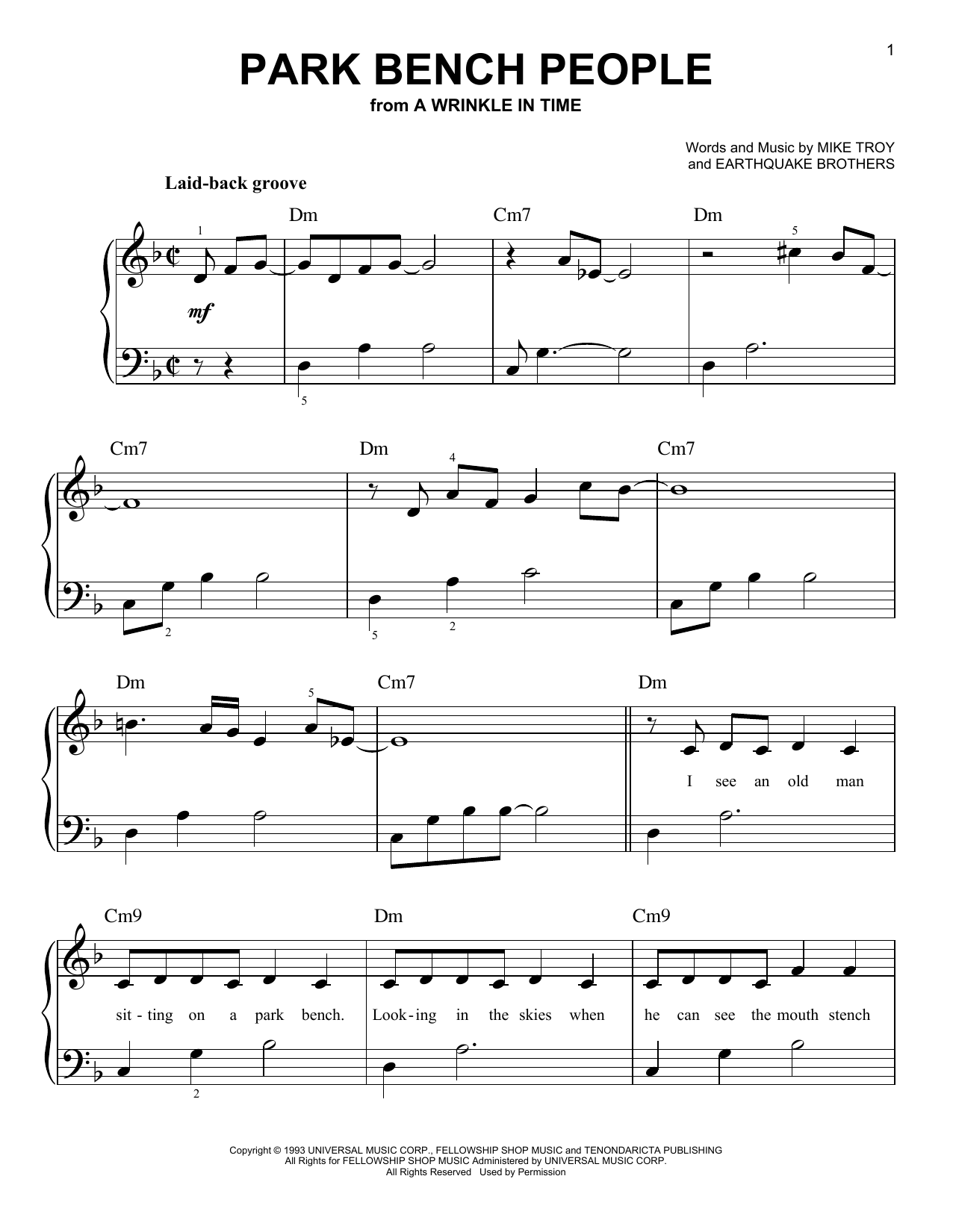Park Bench People (from A Wrinkle In Time) (Easy Piano)