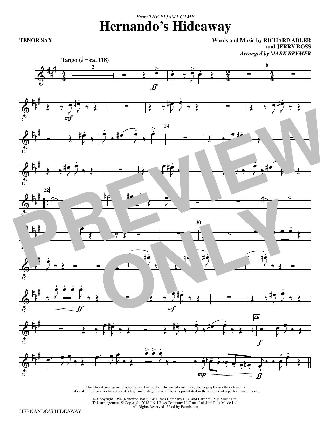 Hernando's Hideaway - Tenor Sax (Choir Instrumental Pak)