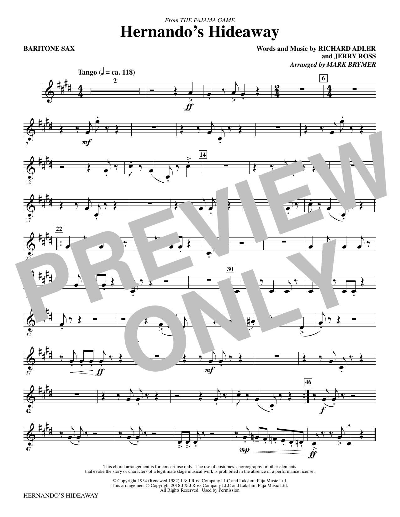 Hernando's Hideaway - Baritone Sax (Choir Instrumental Pak)