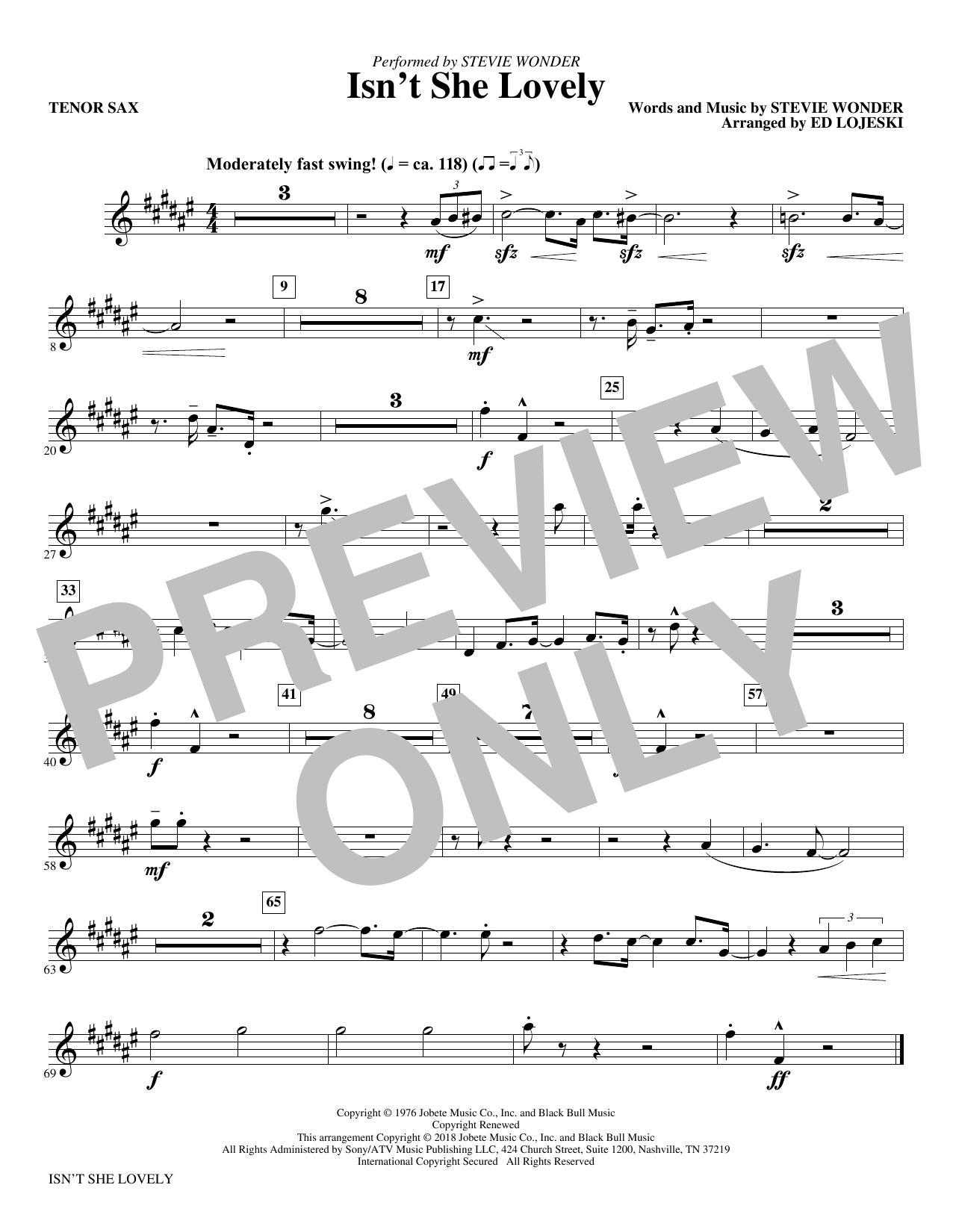 Isnt She Lovely Bb Tenor Saxophone Sheet Music Stevie Wonder