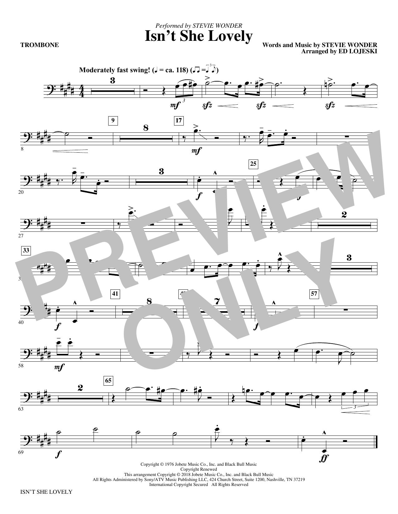Isn't She Lovely? - Trombone (Choir Instrumental Pak)