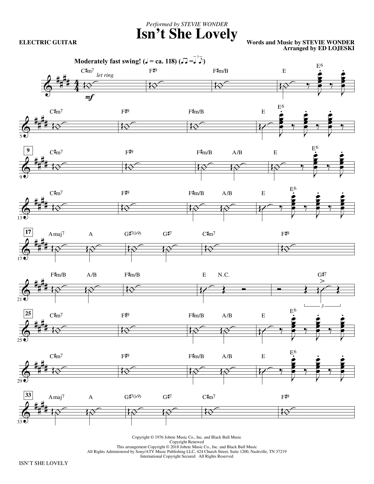 Isn't She Lovely? - Electric Guitar (Choir Instrumental Pak)