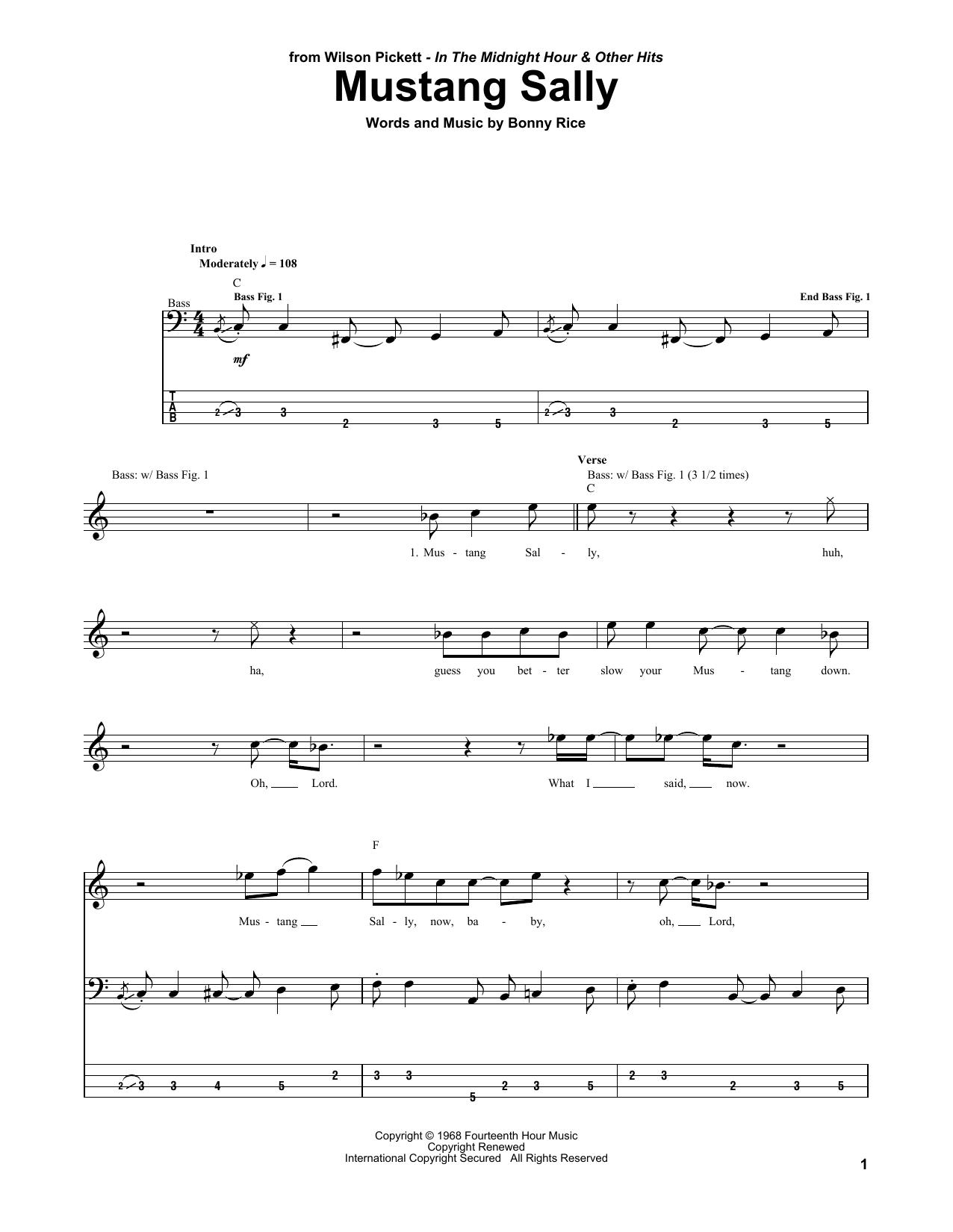 Mustang Sally (Bass Guitar Tab)