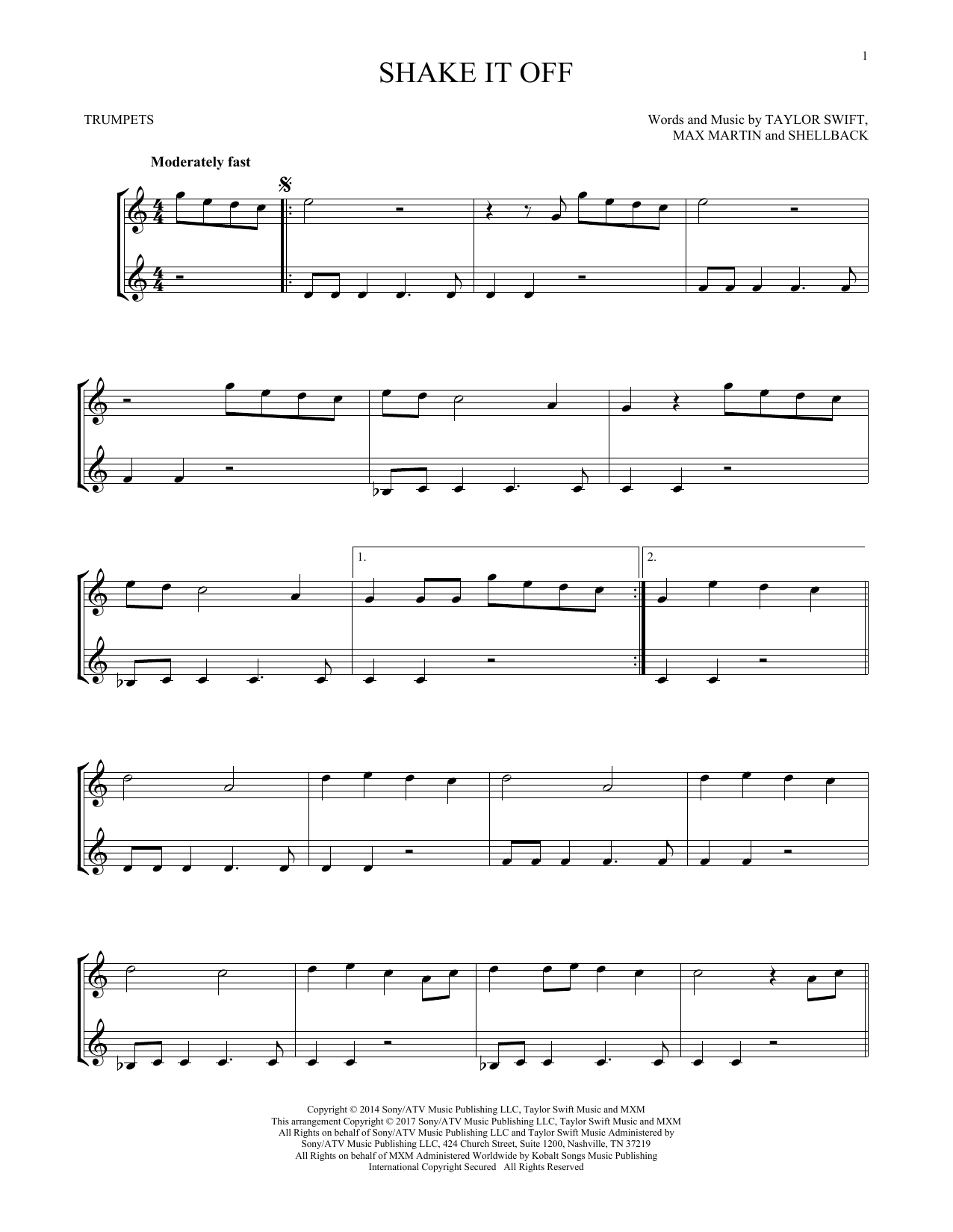 Shake It Off (Trumpet Duet) - Print Sheet Music Now