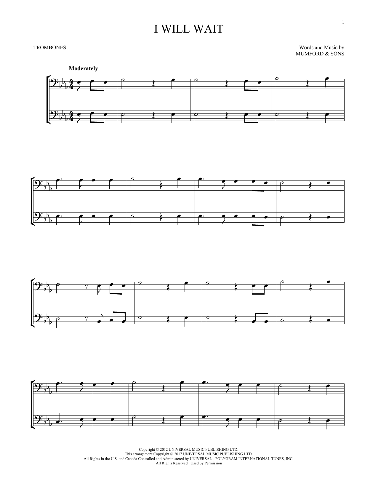 I Will Wait (Trombone Duet)